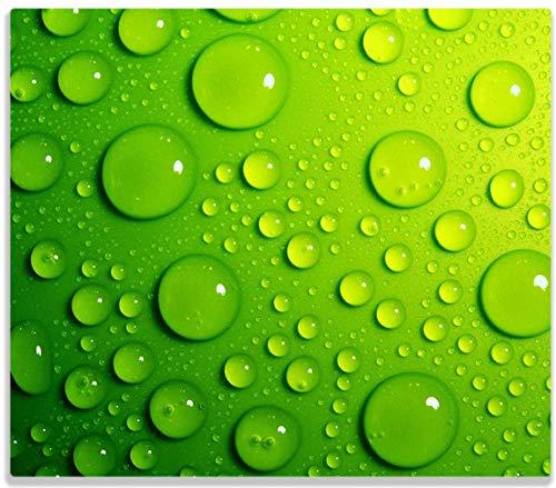 Herdabdeckplatte / Spitzschutz aus Glas, 1-teilig, 60x52cm, für Ceran- und Induktionsherde, Wassertropfen auf Grün