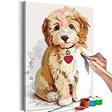 murando - Malen nach Zahlen Hund Welpe 40x60 cm Malset mit Holzrahmen auf Leinwand für Erwachsene Kinder Gemälde Handgemalt Kit DIY Geschenk Dekoration n-A-0313-d-a