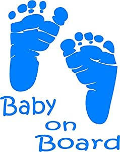 Indiashopers Baby on Board Windows, Sides, Hood, Bumper Car Sticker (Blue)