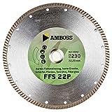 Amboss FFS 22 - Diamant-Trennscheibe Ø 200 mm x 25,4 mm - Hartes Feinsteinzeug (bis 1,2 cm) / harte Granite/Schiefer / Fliesen/Tonrohre / Fiberglas | Segmenthöhe: 7 mm