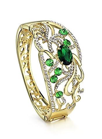 Neoglory Jewellery Armband Tropfen 14 K Gold mit Swarovski® Elements Kristall und Strass in luxus Stil (Grüne Braut Schmuck)