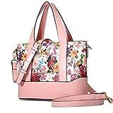 Kadell Blumen Damen Handtasche Leder Schultertasche Tasche Shopper Tote Damenhandtaschen Sale Rosa