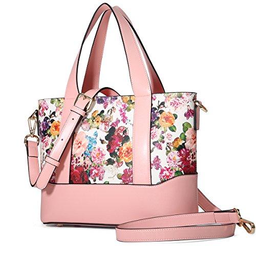 Kadell Blumen Damen Handtasche Leder Schultertasche Tasche Shopper Tote Damenhandtaschen Sale Rosa (Blume Designer-handtasche)
