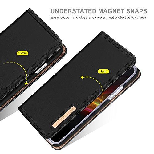 iPhone X Hülle Lederhülle, BENTOBEN iPhone 10 Ledertasche Handyhülle mit Standfunktion kartenfach echtleder Schutzhülle Handytasche für iPhone X 5,8 Zoll Schwarz K018-Schwarz