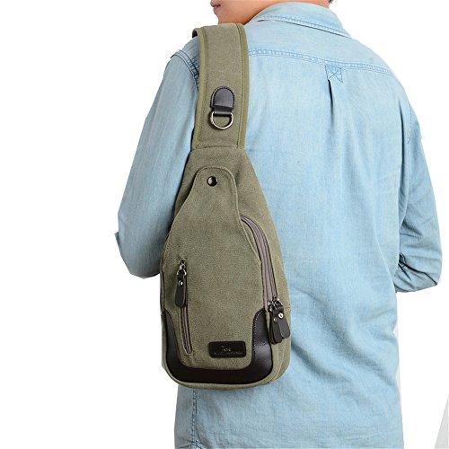 Wewod Herren Outdoor Leinwand Brusttasche Verschleißfest Sling Bag Crossbody mit Multi-Tasche Grün