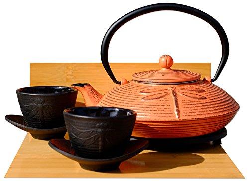 Service à thé en fonte avec théière, dessous de théière et 2 tasses Rouge/motif libellule
