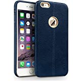 YGS Vorson Lexza Series Double Stitch Leather Shell with Metallic Logo Display Back Cover for Apple iPhone 5S (Blue)