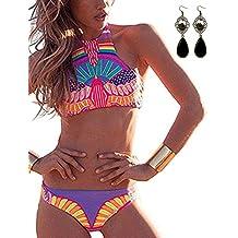 Sitengle Para Mujer Bañador Traje de Baño Push Up Atractivo Bikinis Multicolor Cuello Alto Conjuntos Ethnischen Ropa de Baño Beachwear Swimsuit Swimwear dos Piezas