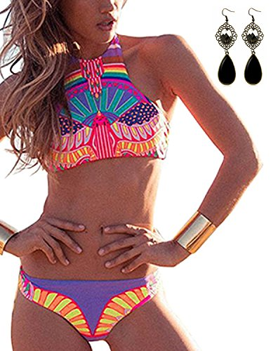 Sitengle Damen Bikini Sets Multicolour Push up Paisley Bademode Badeanzug Bathing Suit Ethnischen Tauchanzug hot Bikini Rosa L (Bras Womens Paisley)