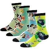 J'colour Herren Jungen Socken Kurzschaft Quarter lustige Socken mit Bunte Tiere Muster,4 Paar