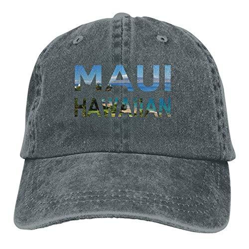 Ingpopol Men Women Adjustable Yarn-Dyed Denim Baseball Caps Maui Hawaiian Dad Hat