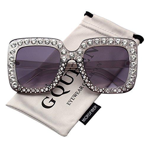 GQUEEN Oversized Damen Sonnenbrille Rechteckiger Rahmen Funkelnder Kristall Markendesigner Stylishe Gläser S063