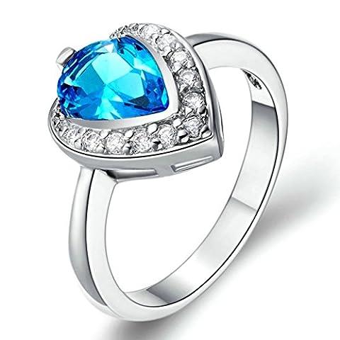 BeyDoDo Modeschmuck Damen Ringe Silber Vergoldet Blau Kristall Zirkonia Wassertropfen Liebe Ring Größe 57 (18.1)
