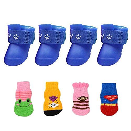 FOONEE - Botas Protectoras para Perros (tamaño pequeño, Mediano y Grande, 2 Pares de Zapatos de Perro Impermeables, para la Lluvia, Nieve, Zapatos de Goma Antideslizantes, Calcetines Libres)