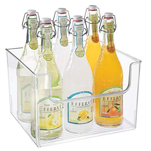 mDesign Aufbewahrungsbox für Lebensmittel - Küchen Ablage mit offener Vorderseite für Kühlschrank, Schrankfach oder Gefriertruhe - Kühlschrankbox aus BPA-freiem Kunststoff - durchsichtig -