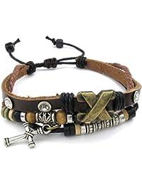1682708ba3c76 Konov Bijoux Bracelet Homme - Croix Charm Réglable 18-23cm Manchette - Cuir  - Alliage - Fantaisie - pour Homme et…