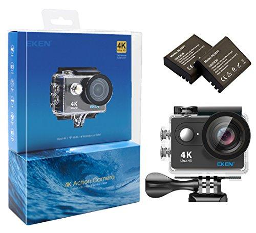 EKEN H9 Wifi 4k Action Camera Sport Impermeabile con 2 batteria + Charging dock + bastone selfie (Black)