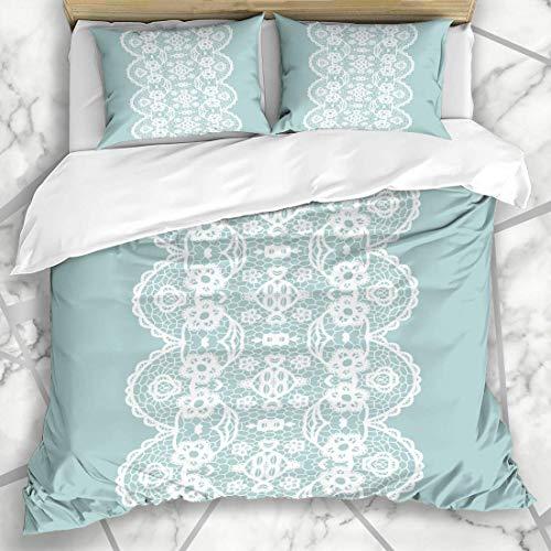 Soefipok Bettbezug-Sets Art Blue White Spitzen Vintage Trim abstrakte Grenze häkeln Zeichnung Edge Edging Mikrofaser Bettwäsche mit 2 Pillow Shams -
