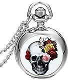JewelryWe Montre de Poche Quartz Fleur Rose Tête de Mort Crâne Gothique Diable...
