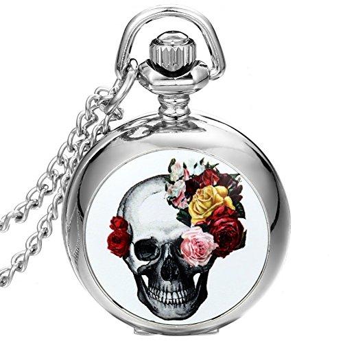 JewelryWe Damen Herren Taschenuhr Emaille Weiß Blumenschädel Uhranhänger Quartz Legierung Kettenuhr Uhr Halskette
