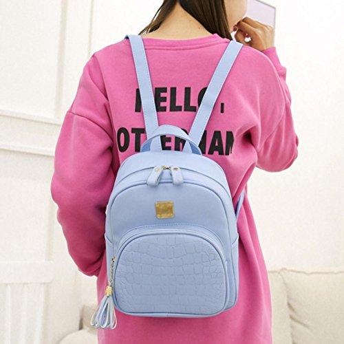 BZLine® Frauen Stein Muster Schulranzen Schultasche Rucksack Reisetasche, 23cm*10cm*27cm Blau
