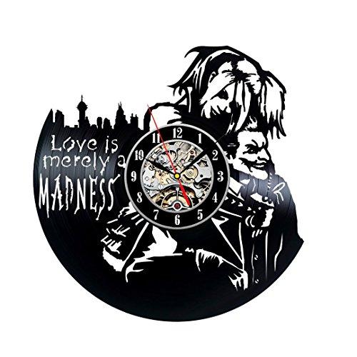 ZhangXF Schallplatte Wanduhr, Harley Quinn und Joker Theme Schallplatte Uhr