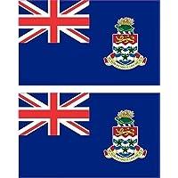 2x 2.25in x 1.375in Cayman Islands Grand Island Flag bumper sticker Decal vinyl auto finestra (0.25 Bumper)
