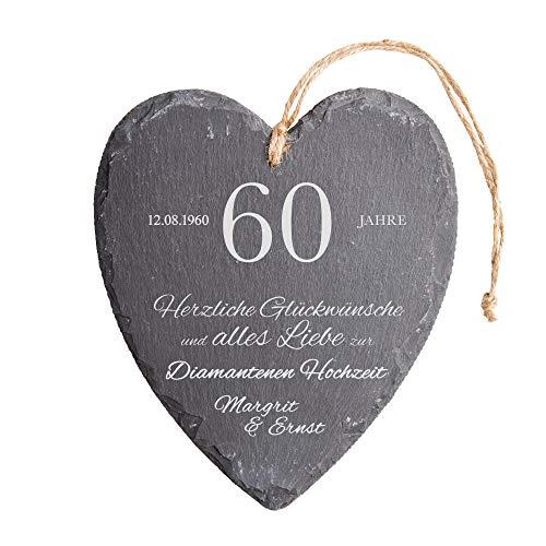 Casa Vivente Schieferherz mit Gravur zur Diamantenen Hochzeit, Personalisiert mit Namen und Datum, 60. Hochzeitstag, Wanddeko mit Juteband
