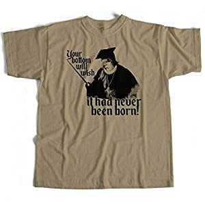 Old Skool Hooligans Inspired by Blackadder T Shirt -Khaki- Baby Eating Bishop of Bath & Wells-Khaki-Khaki-Khaki-l