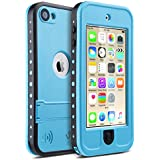 ULAK Waterproof IPod Touch Back Case Built-in Touch Screen For Dustproof Sweatproof With Kickstand For IPod Touch 5 / IPod Touch 6, Blue