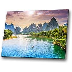 One Blank Wall Arte de la Pared del Paisaje del Bosque Verde Tailandia Vietnam Azul Cuadro de la Lona Impresión Grande