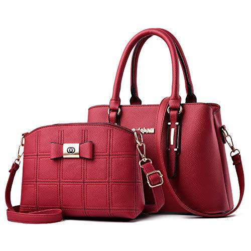 Umhängetasche - Europäische Und Amerikanische Mode Damen Big Bag Eine Schulter Handtasche Rotwein (Gestickte Linie Mutter Paket)