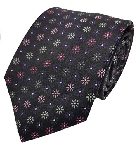Silk Ties Krawatte Seide Paisley & Floral 8 cm, Krawatte Seide 8 cm Paisley & Floral:Schwarz (Silk Floral Schwarz Tie)