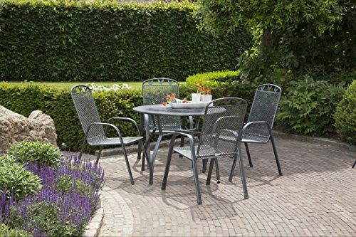 Dreams4Home Garten Set 'Charlo' - 5tlg. Set, 4 x Stapelsessel, 1 x Tisch rund, Balkonmöbel, Gartenmöbel, in grau, Stahlgestell, max. Belastung 110 kg