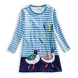 VIKITA Mädchen Baumwolle Langarm Streifen Tiere T-Shirt Kleid JM7593 2T