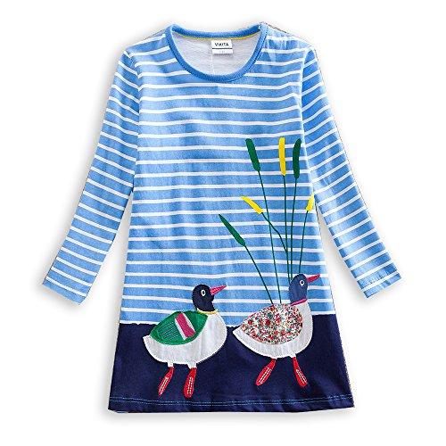 VIKITA Mädchen Baumwolle Langarm Streifen Tiere T-shirt Kleid JM7593 3T (Streifen Lila Shirt Kleid)