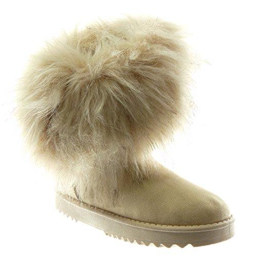 Angkorly - Scarpe Moda Stivaletti Scarponcini stivali da neve donna pelliccia Tacco tacco piatto 3 CM Foderato di Pelliccia Beige