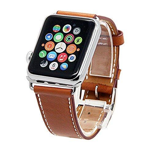 BOOSTED¨, 2 pc Apple Uhrenarmband, echtes Lederband für Apple Watch Series 2 & 1 Single Tour Armband Leder Uhrenband mit Metall Verschluss für Apple Watch 38mm (Leder-uhr-bereitstellung Gurt)