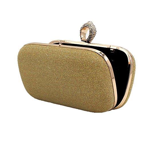 Damen Clutch Geldbörse Ring Kupplung voll Kristall Hochzeit Abend Party Handtasche Strass Kupplung Abendtasche - Silber Gold