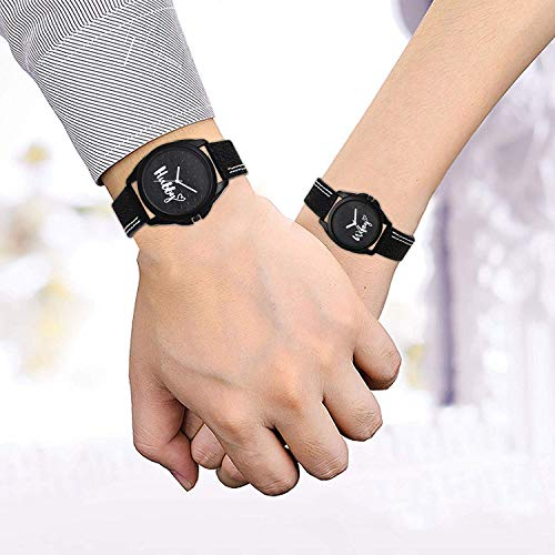 Drealex Couple Hubby and Wifey Analogue Black Dial Watch for Men's and Women's - 31234
