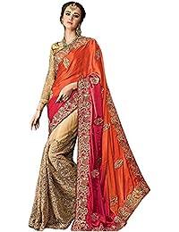Kaavi Fab Women's Nylon Net Orange & Cream Multi Work Designer Saree