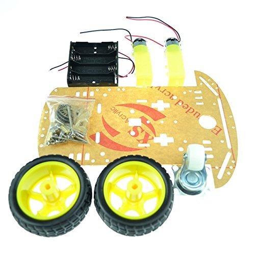 Laqiya 2WD Smart Roboter Auto Chassis Kit mit Geschwindigkeit Encoder Batterie Box Arduino 2 Motor 1:48 - 1 Geschwindigkeit Motor