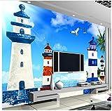 3D Tapete Wandgemälde Mediterranen Stil Blue Sky White Clouds Leuchtturm Wohnzimmer TV Hintergrund Dekorative Bilder Wallpaper 3D Kleber senden 400x280cm