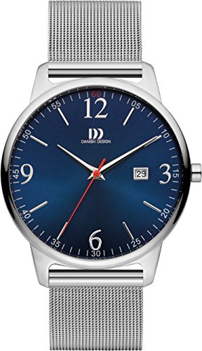 Danish Design Men's Quartz Watch with Blue Dial Analogue Display and Silver Leather Bracelet DZ120448