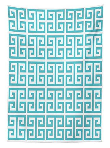 Yeuss Griechischer SCHL¨¹ssel Tischdecke Outdoor, geometrische hellenischen Bund Muster in Pastell Blau und Wei? Farbe Antik Revival, Deko Waschbar Picnic Tischdecke, Seafoam wei? 52
