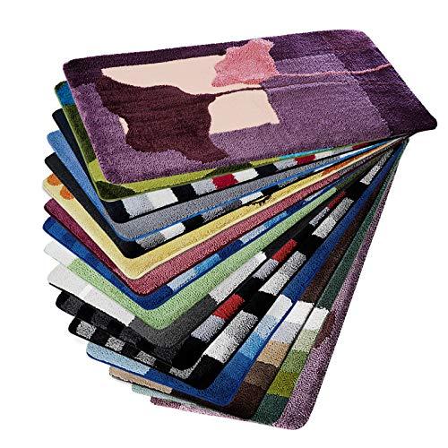 Design Badematte | rutschfester Badvorleger | viele Größen | zum Set kombinierbar | Öko-Tex 100 zertifiziert | viele Muster zur Auswahl | Blumen - Lila (70 x 120 cm)