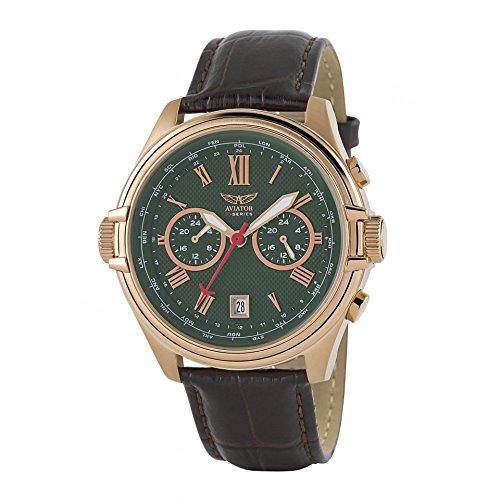 Aviator AVW2017G266 horloge heren - bruin - edelstaal PVD rosé