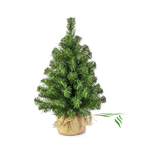 Mini albero di Natale VARSAVIA, verde, sacco di iuta, 60 cm, Ø 40 cm - Albero tessile / Abete di Natale - artplants