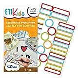 Etikids 40 Etichette termoadesive da STIRARE. Formati e colori vari, per contrassegnare indumenti, vestiti dei bambini a scuola ed asilo. (COLORS)
