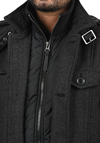 Indicode Brandan Herren Winter Mantel Wollmantel Lange Winterjacke mit Stehkragen, Größe:S, Farbe:Black (999) - 4
